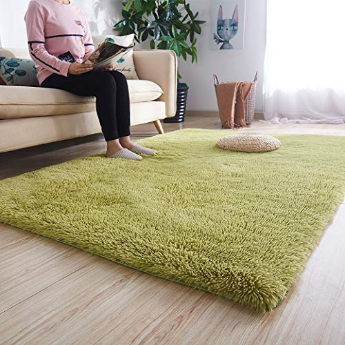 Noahas Super Soft Modern Shag Area Rugs Fluffy Living Room Carpet Comfy Bedroom Home Decorate Floor Kids Playing Mat 4 Feet by 5.3 Feet, Green