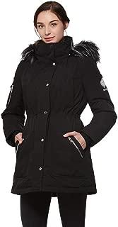 Women's Heavy Duty Down Parka Jacket with Removable Fur Hood Winter Warm Puffer Coat