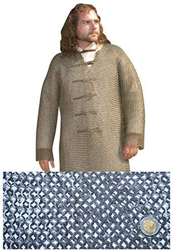 Hauberk Camisa Medieval de COTA de Malla con Mangas largas - Talla XL - Circunferencia de Pecho MAX 152cm.   Anillos Planos 9mm ID   Remaches Redondos Totalmente clavados - Get Dressed for Battle