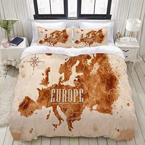 Juego de Funda nórdica, Mapa de Europa con gráficos Marrones de Estilo Antiguo, Juego de Cama Decorativo Colorido de 3 Piezas con 2 Fundas de Almohada