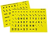Large Print Key-Top Stickers - Black On Yellow Background, Non-Transparent Oversized Characters Keyboard