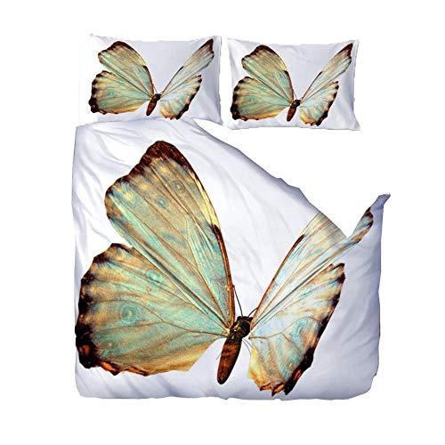 QLCUY Juego De Cama En Microfibra con Estampado Mariposa Animal Blanca,Juego De Funda De Edredón + 2 Almohadas 50X75Cm, para Cama Doble O Individual, (W220 X L230Cm)
