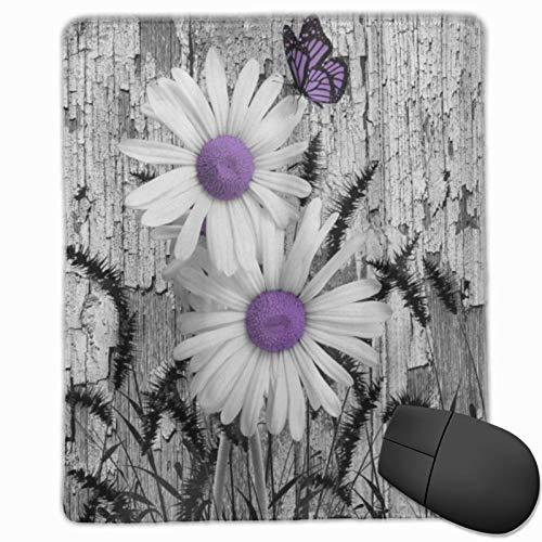 MUYIXUAN Gaming Mauspad 250x300x3mm Lila Grau Weiß Gänseblümchen Blumen Schmetterling Schwarz Fuchsschwanz Gras Office Mauspad rutschfeste Mousepad für PC,Computer und Laptop