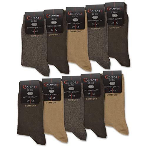 10 Paar Comfort Socken Damen & Herren ohne Gummi & ohne Naht Baumwolle Komfortbund (Beige/Braun 43-46)