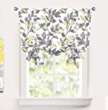 DriftAway Ryan Sketch Floral Branch Leaves Blackout Lined Tie Up Adjustable Balloon Rod Pocket Curtain for Small Window 45 Inch by 63 Inch Yellow Gray