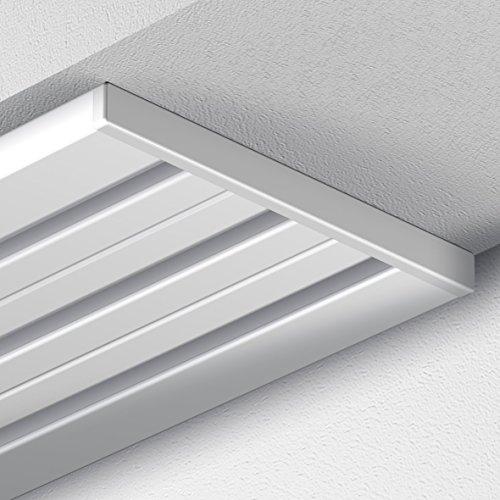 Garduna 300cm Gardinenschiene Vorhangschiene, Aluminium, Weiss, Glatte, glänzende Oberfläche, 4-läufig oder 3-läufig (Flächenvorhangschiene/Flächenvorhangschiene/Wendeschiene)