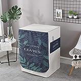 Abdeckung Für Waschmaschinen,Waschmaschinenbezug, Waschmaschine Staubschutz, Wasserdichte Abdeckung Für Waschmaschine Frontlader Trockner (Blaue Blätter(L55*W60*H85Cm))