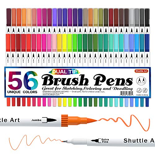 Dual Brush Pens Art Markers, Shuttle Art 56 Colors Dual Tip...