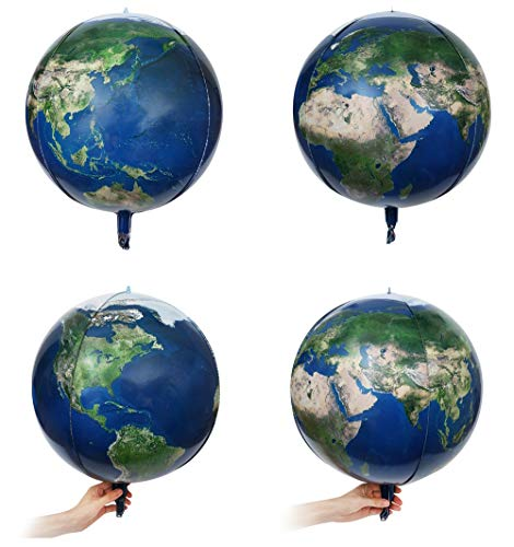"4 Count 16"" Planet Earth Balloons Large Round Sphere World Map Balloons Planet Printing Maylar Globe Jumbo Balloons Kids Toys Gifts Classroom Decor Kids Birthday Decor Hangable(4pcs)"