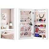 LUXFURNI Small Mirror Jewellery Cabinet Wall-Mount/ Door-Hanging Armoire, Lightweight Storage Organizer