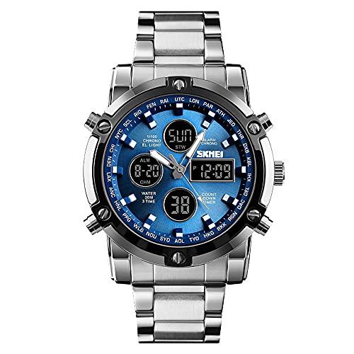 AZPINGPAN Reloj electrónico multifunción de acero inoxidable con pantalla dual, esfera grande luminosa, cronógrafo comercial, calendario impermeable, visualización de la semana, reloj de pulsera de cu