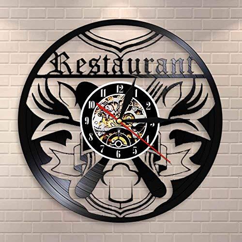 wtnhz LED-Restaurante Logotipo de la Empresa Reloj de Pared Cocina Disco de Vinilo Reloj de Pared Cantina Colgante de Pared decoración Chef Gourmet Regalo Cuchillo y Tenedor Reloj de Tiempo