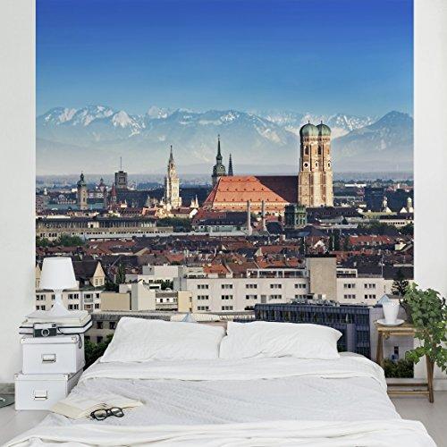 Apalis Vliestapete München Fototapete Quadrat   Vlies Tapete Wandtapete Wandbild Foto 3D Fototapete für Schlafzimmer Wohnzimmer Küche   Größe: 192x192 cm, mehrfarbig, 95396