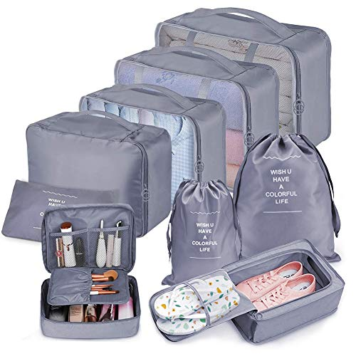 Bteng Packwürfel Set 9-teilige, Multifunktionale Koffer Organizer Set Wasserdichte Packing Cubes, Kofferorganizer, Kleidertaschen, Schuhbeutel, Kosmetiktasche, Ordnungssystem für Urlaub, Reisen (Grau)