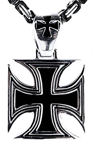 Kiss of Leather EK Kreuz Anhänger aus Edelstahl mit schwarz-silberner Königskette, 4,5 mm dick, 55-60 cm lang