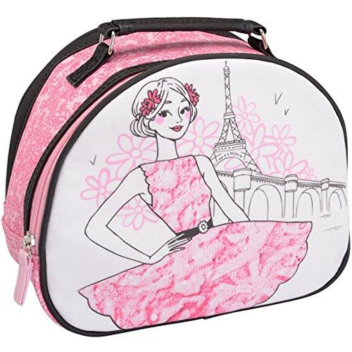 La Chaise Longue 32-V2-103R Vanity Case Les Parisiennes La Romantique Rose Coton enduit PVC Fermeture zip Poignée H20 x 12 x 26 cm