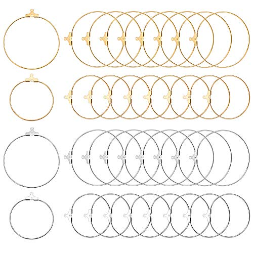 DIY Earring Findings, 40pcs Round Beading Hoop Earring Findings Earring Components with Loop for Earring Jewelry Making - Dia : 30mm, 40mm