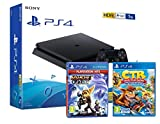 PS4 Slim 1To Console Playstation 4 Noir + Ratchet & Clank + Crash Team Racing: Nitro Fueled