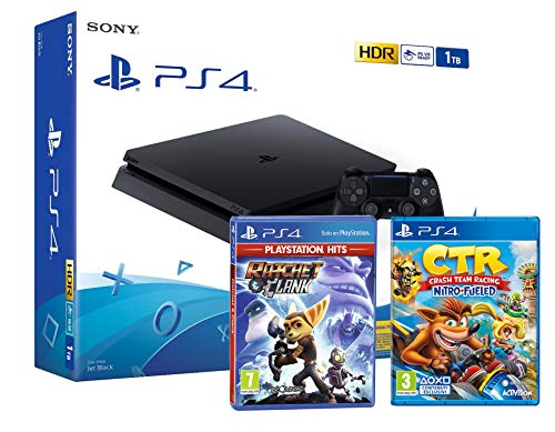 PS4 Slim 1Tb Negra Playstation 4 Consola + Ratchet & Clank + Crash Team Racing: Nitro Fueled
