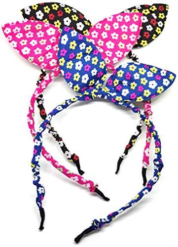 takestop® haarband set 2 stuks retro bloemen met 2 oren haarspelden van kunststof en stof bloemen voor bloemen en accessoires voor accessoires