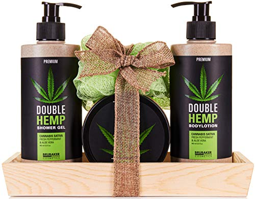 BRUBAKER Cosmetics Hanföl Dusch- und Pflege Set frische Minze & Aloe Vera mit Deko Tablett aus Holz