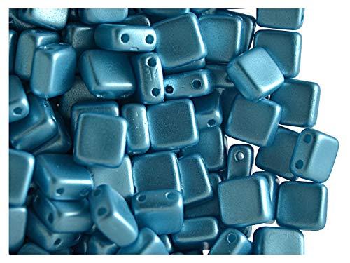 40pcs Tile Beads - Perles de verre pressées tchèques Carrelage 6x6x2.9mm, deux trous, Pastel Aqua