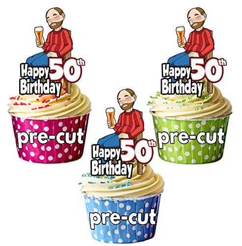 PRECUT- Bebedero de cerveza para hombre, 50 cumpleaños, comestible, decoración para cupcakes (paquete de 12)
