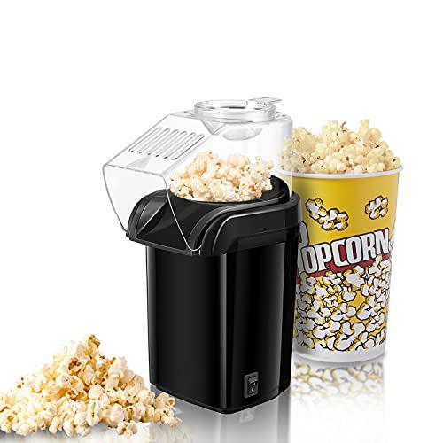 Popcornmaschine, Popcorn Maker Machine für Zuhause, Heissluft Popcornmaker Ohne Fett Fettfrei Ölfrei, Messlöffel, 1200W Popcorn Popper, Schwarz