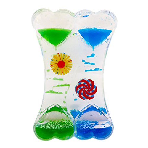 Dual Color Liquid Motion Zig Zag Timer Calming Bubbler Spinning Tumbler Wheels Colorful Z Desk Timers (Heart Shape Timer)