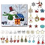 Weihnachten Adventskalender 2020 Countdown Kalender 24 Charms mit Ohrhaken Halskette Set Modeschmuck 4 Paar Ohrhaken und 6 Paar Ohrstecker, 2 Halsketten, 12 Anhänger Accessoires