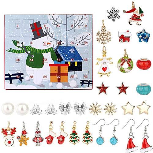 sympuk Calendario de Adviento de Navidad 2020 con dijes de 24 días, calendarios de cuenta atrás, 4 pares de ganchos para orejas y 6 pares de pendientes, 2 collares, 12 colgantes accesorios