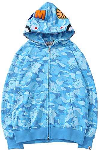 EUDOLAH BAPE Shark Ape Bape Hoodie Camo Print Cotton Sweater Casual Loose Zip Hoodie Jacket for Men WomenBlue-a,Medium