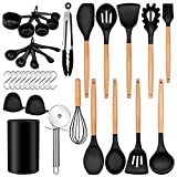 Homikit 35-Piece Kitchen Cooking Utensils Set with Holder, Non-Stick Silicone Cookware Utensils Spatula Set, Heat Resistant Kitchen Tools with Spoon Whisk Turner Tong, Wooden Handle, Black