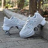 XHXH Zapatos de polea Invisibles Patines de deformación Zapatos de Rodillo Patinar Zapatos para Correr Skate Quad Kick Doble Fila Roller Patines, Invisible 2 en 1, Deport 33