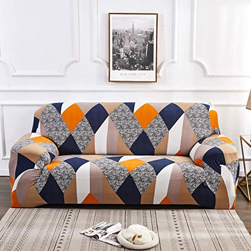 House of Quirk Universal Triple Seater Sofa Cover Big Elasticity Cover for Couch Flexible Stretch Sofa Slipcover (Triple Seater, Multi Prism), Polyester & Spandex, Multicolour