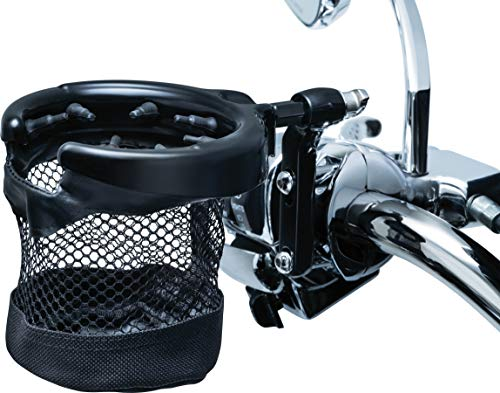 Kuryakyn 1738 Motorcycle Handlebar Accessory: Universal Drink/Cup Holder with Mesh Basket for Clutch/Brake Perch Mount, Gloss Black