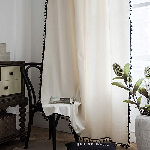 "ColorBird Solid Color Semi-Blackout Window Curtains 2 Panels Boho Style Cotton Linen Darkening Curtains with Tassels Rod Pocket Window Drapes for Living Room Bedroom (52"" W x 84"" L, 1 Pair, Off White)"