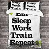 SIONOLY Diseño de Letras tipográficas Eat Sleep Work Train Repetir Entre Comillas Fundas Edredon 140x200cm con 2 Fundas De Almohada 50x80cm para La Decoración del Hotel En El Hogar Dormitorio