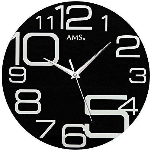 Reloj de pared de cuarzo, con segundos deslizantes, cristal mineral, estampado en negro.