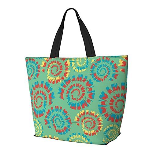 Damen-Handtaschen, Batikfärbung, Spirale, Grün / Blau, große Kapazität, trendig, für Fitnessstudio, Sport, Strand, Schule, Bücher