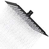 Derpras 16 Inch Square Rain Shower Head, 304 Stainless Steel, Ultra Thin High Pressure Bathroom Rainfall Showerhead (Matte Black) (324 Jets)
