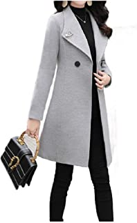 Howely Women's Casual Slim-Fit Mid-Length Fashion Lapel Winter Pea Coats
