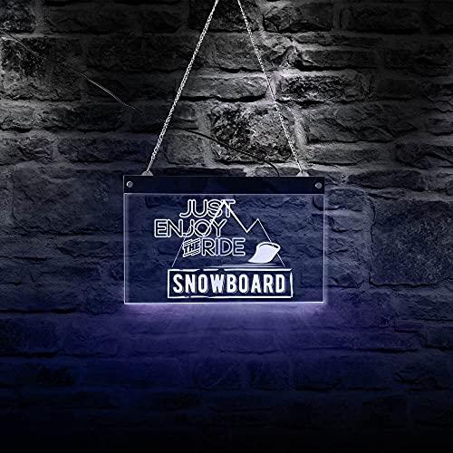 Eld 30cm * 19cm GENIESSEN SIE DIE FAHRT Snowboard LED Neonlichter Buntes Neonschild Snowboarder Beleuchtung Geschenk Rechteck Werbetafel Muttertagsgeschenk Lichtschilder