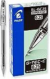 PILOT G-Tec-C Gel Ink Rolling Ball Pens, Hyper Fine Point (0.25mm), Black Ink, 12-Pack (35485)