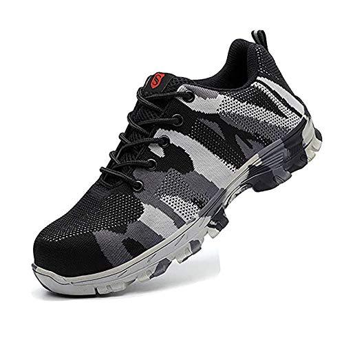 Zapatos De Seguridad para Hombre con Puntera De Acero Mujer Calzado De Trabajo Zapatos De Deportivos Transpirables Construcción Botas Trekking Camouflage Gray 42