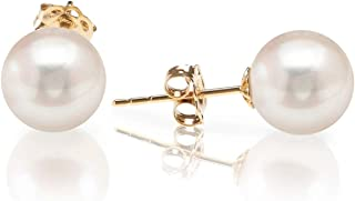 14K Yellow Gold AAA+ Handpicked Round Freshwater Cultured White Pearl Earring | Pearl Earrings for Women - 6mm