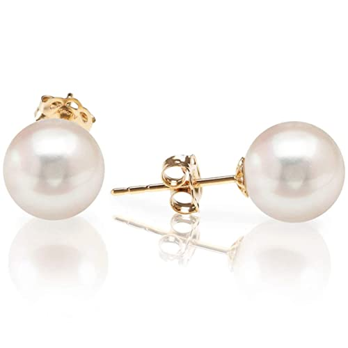 PAVOI 14K Yellow Gold AAA+ Handpicked Round Freshwater Cultured White Pearl Earring | Pearl Earrings for Women - 7mm
