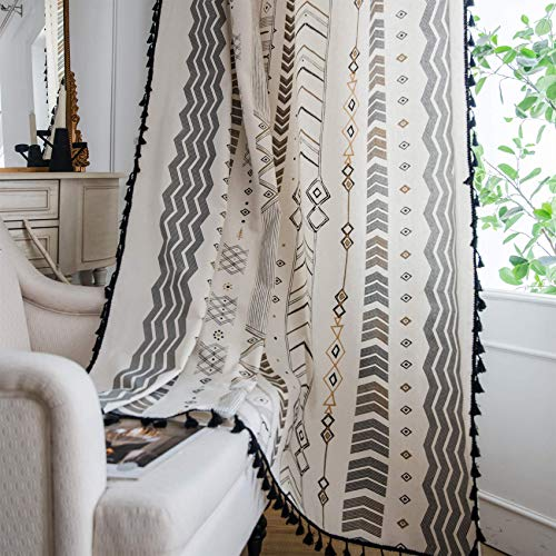 ARTBECK Boho Cotton Linen Curtains with Tassels Geometric Semi Blackout Print Farmhouse Bohemian Window Curtains for Living Room Rod Pocket Drapes 1 Panel