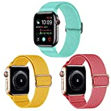 Apple Watch Band, Nylon Solo Loop iWatch Band 38mm 40mm 42mm 44mm, Adjustable Stretch Nylon Strap for Apple Watch Series SE 6 5 4 3 2 1, 3 Pack Elastic Smartwatch Wristband Apple Watch Bands Men Women