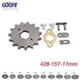 GOOFIT 428 15 T 17mm dents moto Pignon moteur Pignons coniques de chaîne Engine For 50cc 70cc 90cc 110cc Motorcycle Dirt Bike ATV Quad